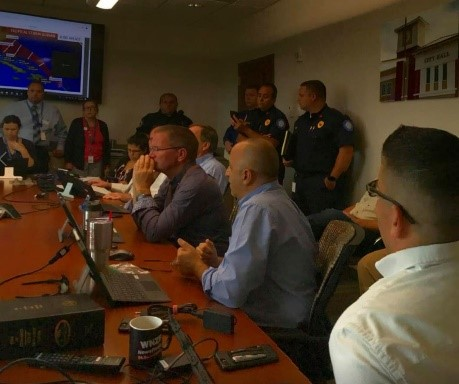 Capt. Ascone stands by for a storm briefing