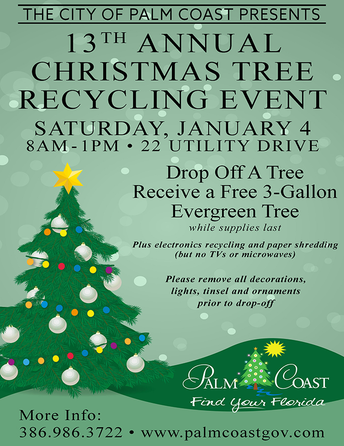 Annual Christmas Tree Recycling City Of Palm Coast Florida
