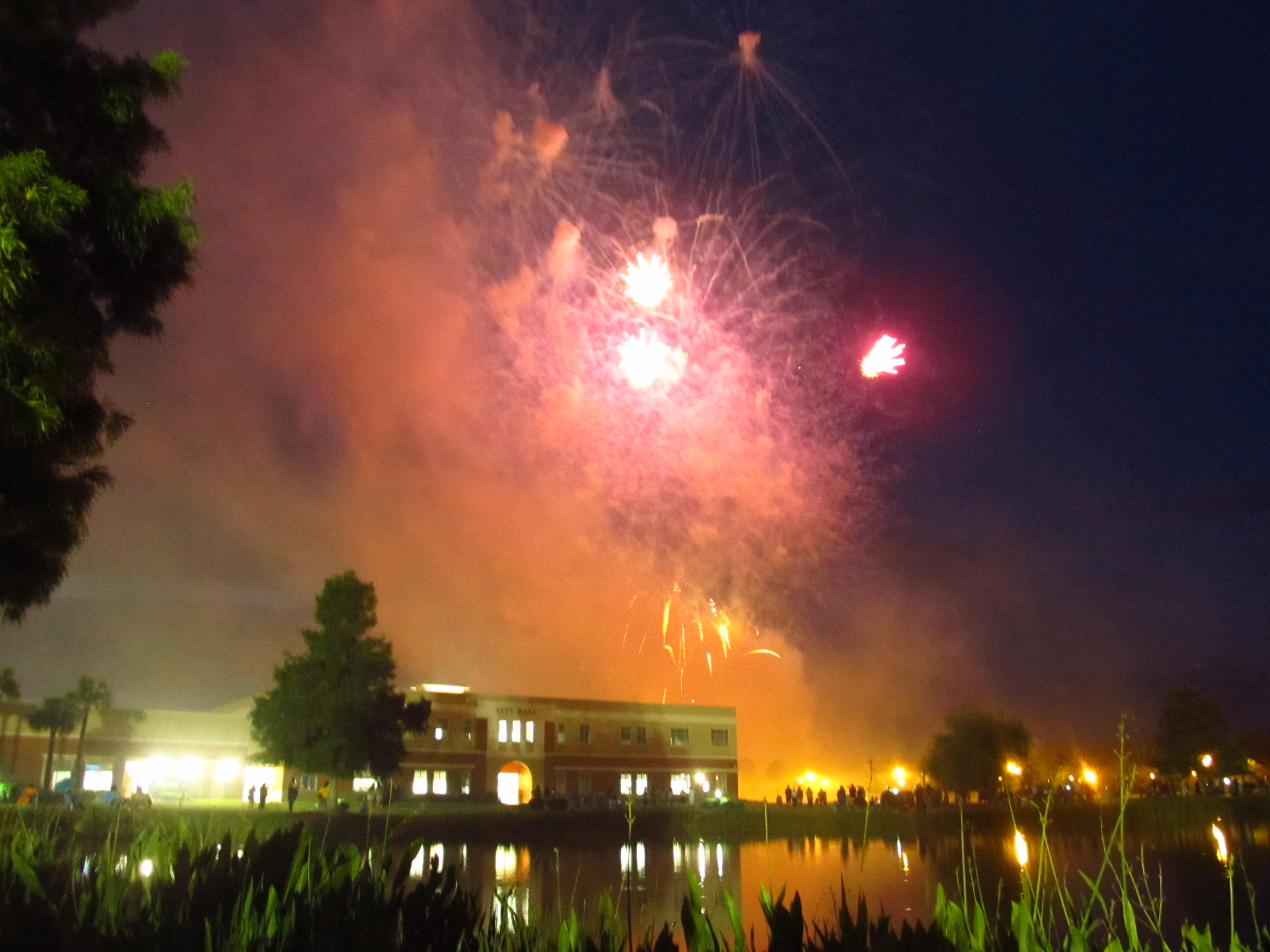 fireworks over city hall
